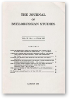 The Journal of Byelorussian Studies, Vol. VI, No. 1 - Year XXI